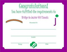 Girl Scout Juniors, Award Certificates, Brownie Girl Scouts, Brownies, Congratulations, Award Display