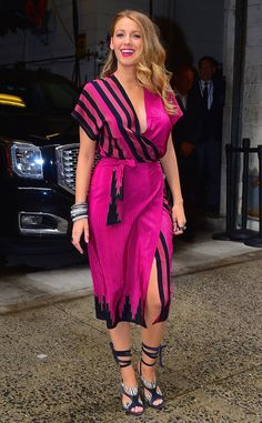 Slinky Pink from Blake Lively's Best Looks In a hot pink wrap dress