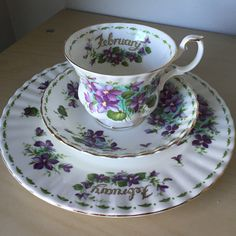 """Royal Albert """"Violets"""" February Flower of the Month Series Vintage Teacup Saucer Plate, Purple Floral Tea Cup Trio China, Birthday Gift by CupandOwl on Etsy"""