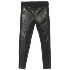 Pre-owned Trousers with leather inserts ($270) ❤ liked on Polyvore featuring pants, black, elastic pants, polka dot pants, leather trousers, urban pants and faith connexion pants