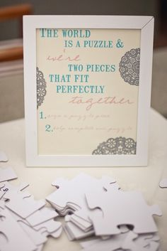 Have guests sign puzzle pieces that fit together for wall decor in your home toghether