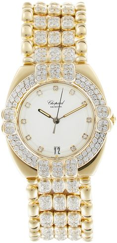 Chopard Yellow Gold Gstaad Watch, from Estate Jewelry & Watches Feat. Chopard on Gilt Elegant Watches, Beautiful Watches, High Jewelry, Luxury Jewelry, Chopard, Rolex Datejust, Turquoise, Luxury Watches, Jewelry Watches
