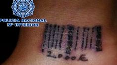 "Prostitution Ring in Madrid tattooed 19 year old human trafficking victim with a bardcode.  This barcode served as a certificate of ""ownership"" and included the amount of money she owed the ring police said."