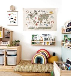 Children's bookshelves Playroom Design, Kids Room Design, Playroom Decor, Baby Room Decor, Modern Playroom, Boy Decor, Bonus Room Playroom, Small Playroom, Colorful Playroom