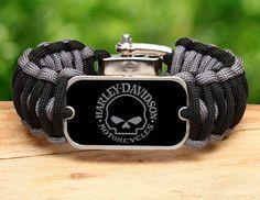 Wide Survival Bracelet™ - Harley-Davidson® Willie G. Skull - Black and Charcoal