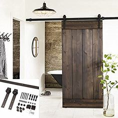 Amazon.com: Erfect 6.6 FT Brown Basic Wood Barn Door Steel Antique Style Sliding Hardware Track Set Coffee: Home Improvement
