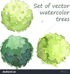 watercolor trees - plan view #LandscapeSketch