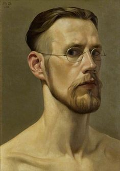"""The Troubled Look"" - Mark Shields, acrylic on linen, 1995 {contemporary figurative artist male head eyeglasses man face self-portrait painting #loveart}"