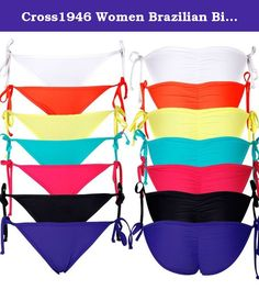 Cross1946 Women Brazilian Bikini Bottom Swimsuit Tie-side Swimwear Bathing. Made of wet suit material, smooth and soft feeling,no extra padding in top. Size: S, M, L,XL. It can be used as swimwear, beachwear or bathing suit. Package include One Bikini Bottom. Best gift for your friends or yourself.