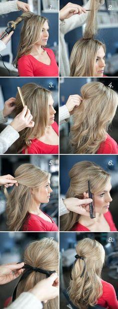 Easy Half up Half down Hairstyles: RIBBON HALF UPDO