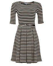 New Look Black and Cream Stripe 3/4 Sleeve Skater Dress