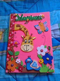 Caderno decorado em eva girafinha   caderno decorado com eva, com moldes