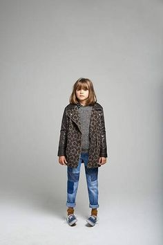 All Ages: animal print coat with padded sleevesgrey sweater jeans
