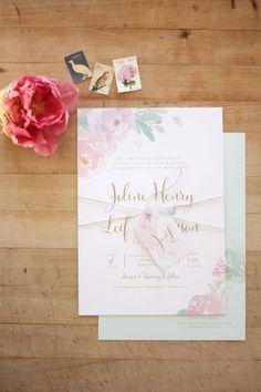 Just My Type Wedding Invitation & Wedding Stationery Design NZ Romantic Pastel Watercolour Floral Silver Fern Wedding