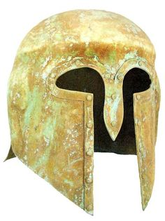 "Corinthian Bronze helmet used in Ancient Greek warfare. Hammered from a single sheet of Bronze, with dot patterns around the face and flaring rim in the back. The ancient Greeks called themselves Hellenes and their land Hellas. They never formed a national government but were united by a common culture, religion and language. Covered in green patina and earthen encrustations. Very rare.  	  	  	500 - 600 BC  	11"" x 10"""