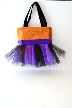 Glittery Orange Tutu Tote Bag with Purple and Orange Tulle on Etsy, $26.00