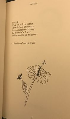 Rupi Kaur The Sun and Her Flowers - I don't need more friends