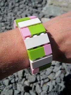 Items similar to LEGO Bracelet in White, Lime and Pink-Original Design by DaRosa on Etsy