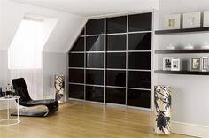 Sliderobes fitted sliding door wardrobe white glass with light oak rails