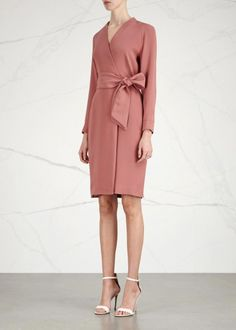 Max Mara dusky rose silk crepe dress Wrap-effect front, tie-fastening belt, partially lined Concealed zip fastening at back 100% silk; lining: 89% acetate, 6% silk, 5% polyamide