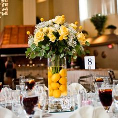 Floral and Lemon Centerpieces