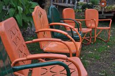 """Vintage """"Halloween"""" Metal Lawn Chairs"""