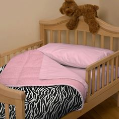 Black and White Zebra Toddler Bedding | Girl Toddler Bedding in Zebra Minky Print | Carousel Designs