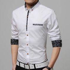 New 2016 Men's Shirts Men Brand Dress Slim Fit Designer Cotton Casual Chemise Homme White/blue Fashion Social Camisa Masculina Stylish Shirts, Casual Shirts For Men, Men Casual, Style Africain, Floral Fashion, Blue Fashion, Cheap Fashion, Fashion Men, Street Fashion