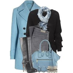 Blue Pea Coat, created by brendariley-1 on Polyvore