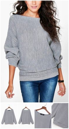 Grey Long Sleeves Loose Jumper US$13.95