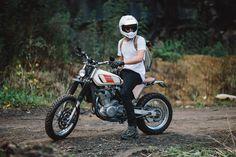 Suzuki (with Yamaha XT tank) from like on the throttle . - Yamaha - # on # - - Tracker Motorcycle, Scrambler Motorcycle, Moto Bike, Honda Motorcycles, Motorcycle Style, Custom Motorcycles, Custom Bikes, Bobber, Vintage Motorcycles