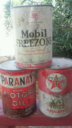 Vintage Oil Can Lot Mobil Texaco Paranay Rusty Old Motor Garage