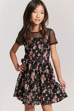 Product Name:Girls Floral Embroidered Lace Dress, Category:GIRLS_Dresses, Price:19.9