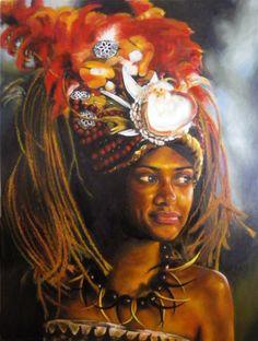 Gorgeous depiction of a Taupou. Samoan art.