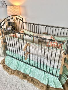 Orange and Grey Arrowhead, Mint Aztec, Burlap, Ivory with Gold Arrows, and Tan Plaid Crib Bedding Crib Bedding Boy, Linen Bedding, Bed Linens, Rustic Nursery, Rustic Baby, Bedding Sets Online, Luxury Bedding Sets, T Baby Names, Orange Bedding