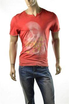 Buffalo T-shirt David Bitton Mens Red Rouge Manhatten Graphic T Shirts Sz M New