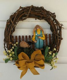 """hand sculpted polymer clay boy bunny ocre/steel blue walking his sheep 8"""" grapevine wreath by JessiesCornerClay on Etsy"""