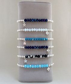 Glass crystal Bead & Silver plated Bracelets with a star or heart charm by Carminajewels on Etsy