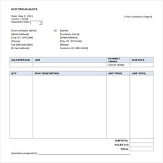 Quotes Template Word Quote Invoice Business Proposal Templates