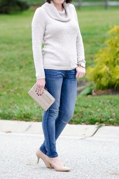 What To Wear for New Year's Eve: I love this shimmer cowl neck sweater with jeans and nude heels for a casual NYE party at home.