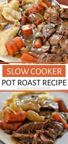 Slow Cooker Pot Roast - A slow cooker roast beef and gravy recipe that is so easy to make! This comfort food is tender and - Slow Cooking, Cooking A Roast, Slow Cooker Roastbeef, Slow Cooker Beef, Crock Pot Chuck Roast, Crock Pot Beef, Easy Pot Roast, Tandoori, Roast Beef Recipes