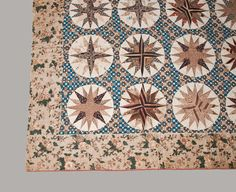 Elaborate Chintz and Cotton Appliqued Mariner s Compass Quilt, Probably Maryland, circa 1830