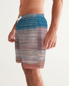 Men's Swim Trunk with Colorfull Abstract Stripes Swim Trunks, Mens Fitness, Men's Fashion, Stripes, Swimwear, Men Fashion, Man Fashion, One Piece Swimsuits, Swim Shorts