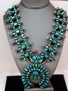 Blue Gem Turquoise Silver Squash Blossom Necklace  -*-*-bin3800
