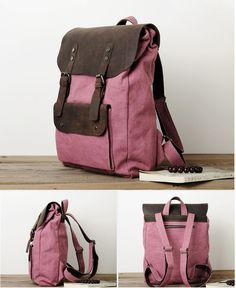 The Brumby, Leather and Canvas Vintage Style Backpack – Runaway Bags. In love with the pink version of this rucksack! Retro and modern perfectly combined. A lovely travel companion for every active and adventurous lady.