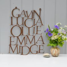 personalised metal family typographic art by wild ink | notonthehighstreet.com