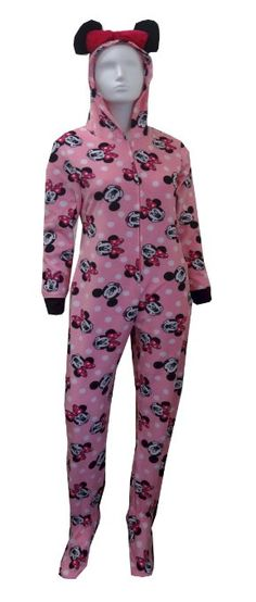 5a8dcecdd54c Disney s Minnie Mouse Pink Hooded Onesie Footie Pajama for women -- I want  to buy