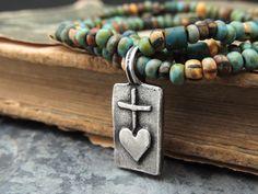 Colorful Beaded Boho Bracelet Silver Cross Heart by ATwistOfWhimsy, $46.00