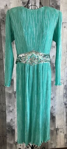 Vintage 1960s Sequin Beaded Accordion Pleated Maxi Dress Gown Belt Aqua Size 14 #Unbranded #GownMaxiDress
