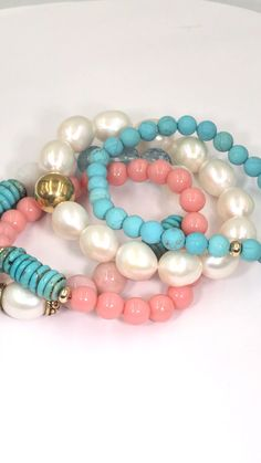 Turquoise pink opal beads and more combine to create this stacking bracelet set of 3 Turquoise pink opal beads and more combine to create this stacking bracelet set of 3 Handmade Bracelets, Earrings Handmade, Handmade Jewelry, Diy Jewelry, Jewellery, Bracelet Set, Bangle Bracelets, Pink Bracelets, Diy Jewelry Making